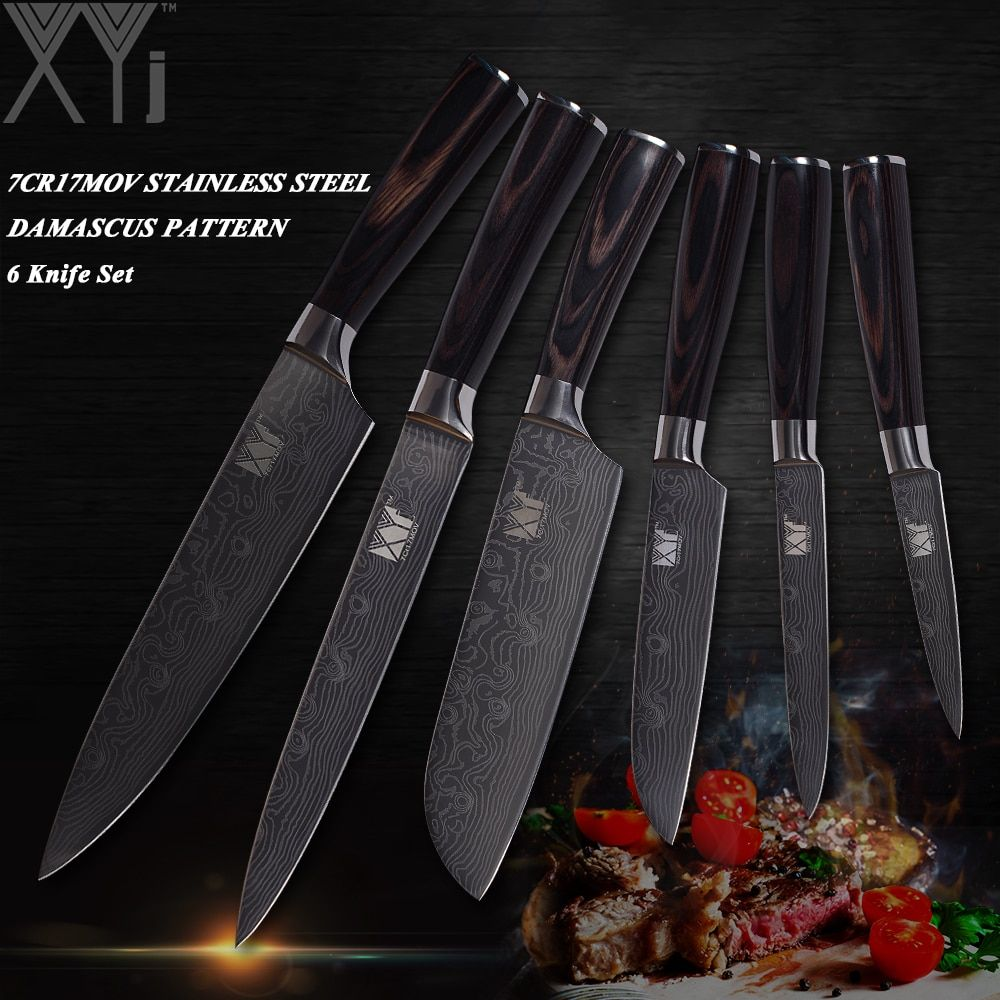 Xyj Japanese Style Chef Knives Set Stainless Steel Kitchen Knife Set 6 Pcs Laser Pattern Cooking Knife Master Design Kitchenware Knife Set Kitchen Kitchen Knives Cooking Knife Set