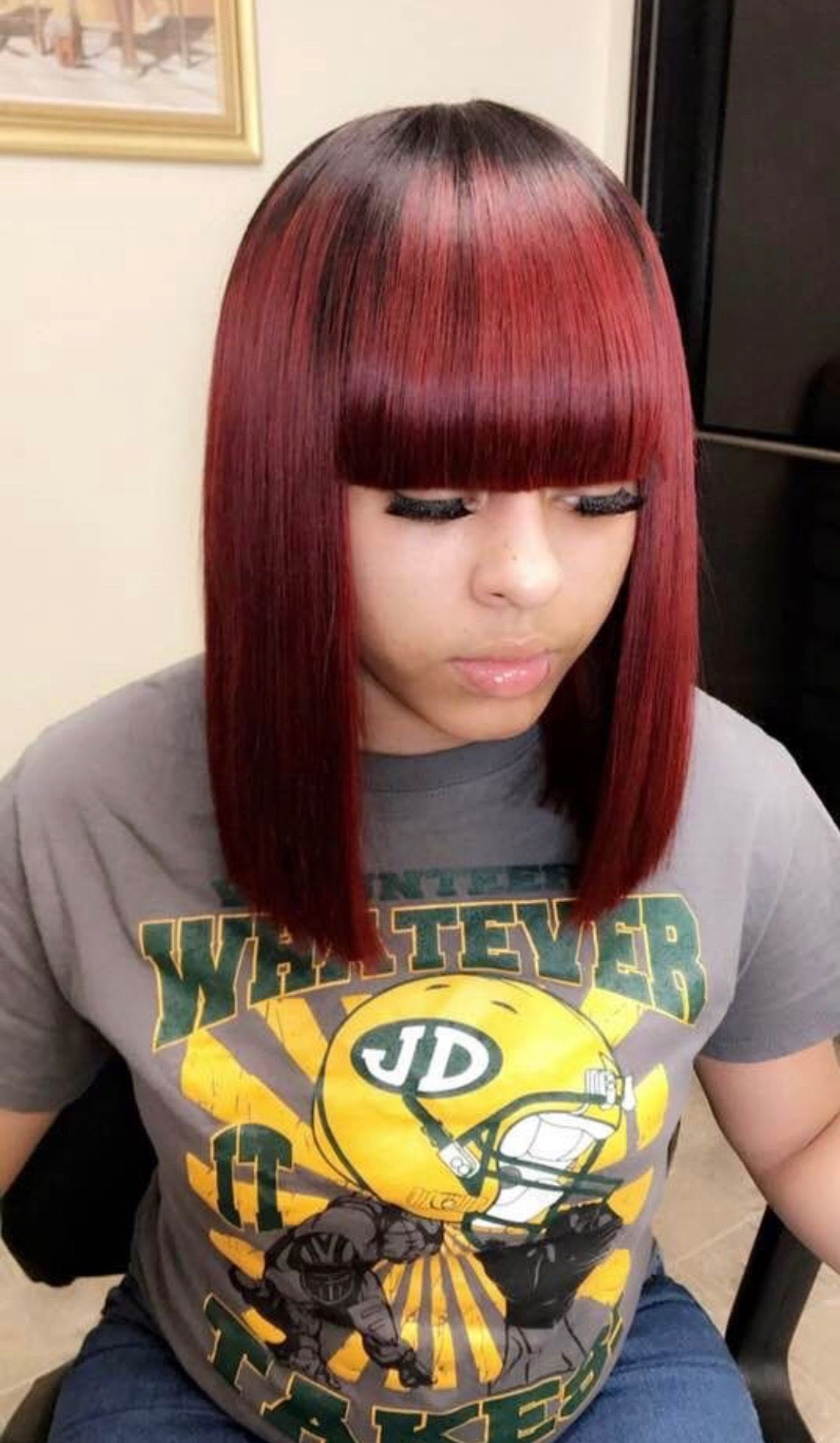 Sew In Weave Colored Burgundy With Bangs Bob Shoulder Length With Closure Quick Weave Hairstyles Short Hair Styles Medium Hair Styles