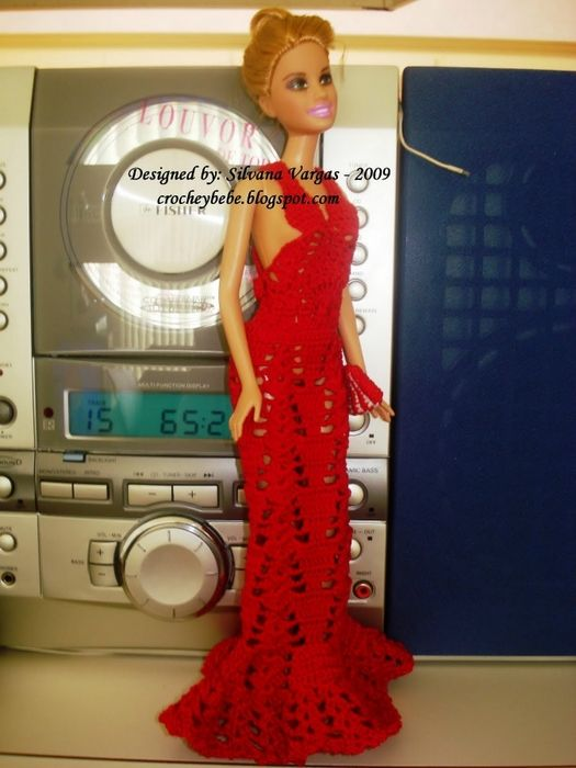Barbie crochet red dress ♥LCB-MRS♥ with diagram