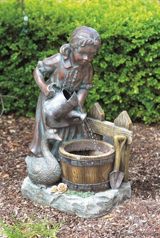 Girl And Goose Lighted Garden Fountain