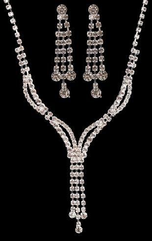 2 row rhinestone wave jewelry set $6.60