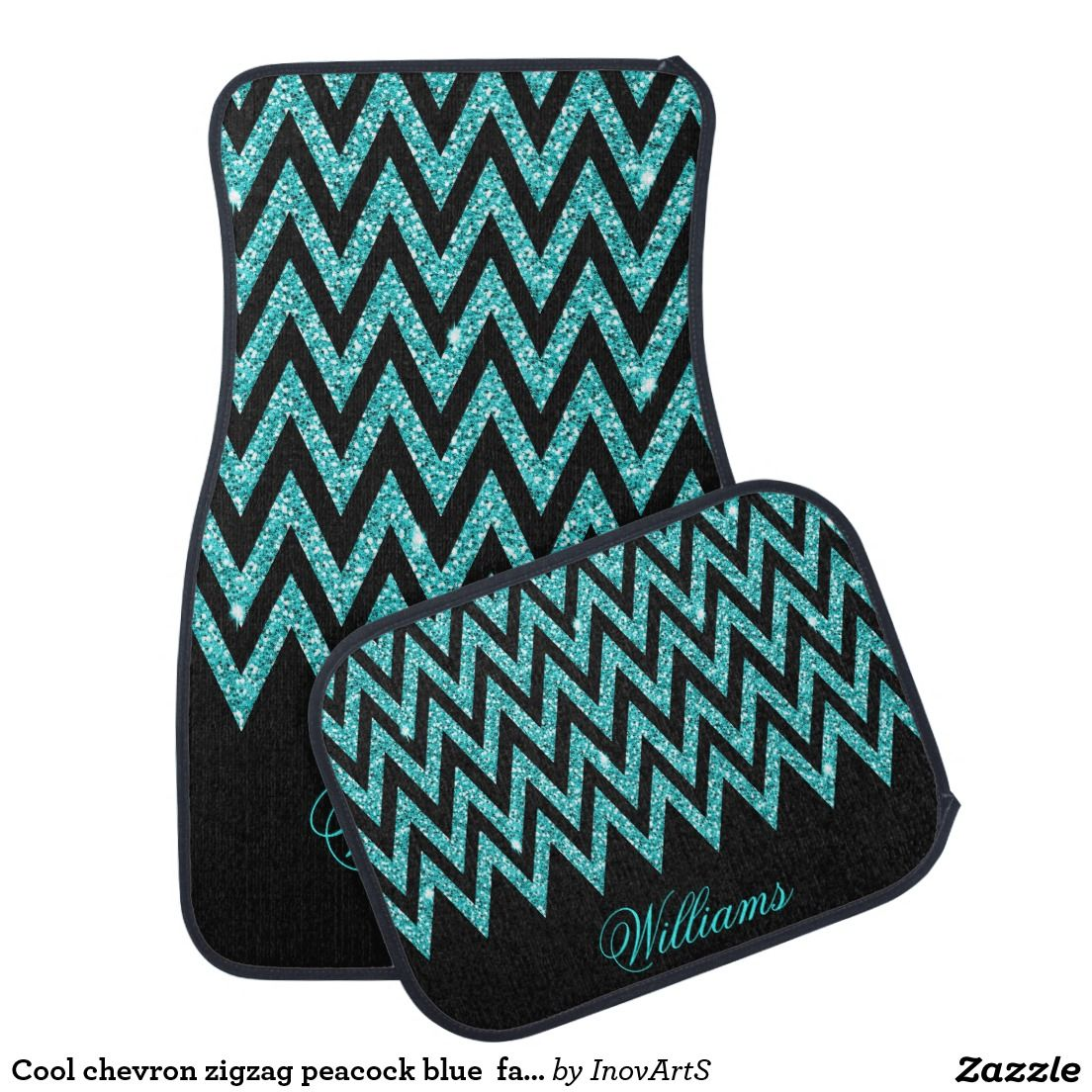 Floor mats dream cars - Cool Chevron Zigzag Peacock Blue Faux Glitter Car Floor Mat