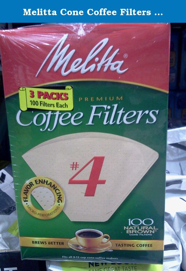 Natural Brown #4 Pack of 3 100 Count Melitta Cone Coffee Filters