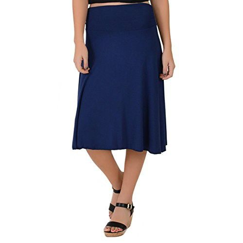 9c7e1d4296 Stretch is Comfort Women's Plus Size Knee Length Flowy Skirt Navy Blue 2X