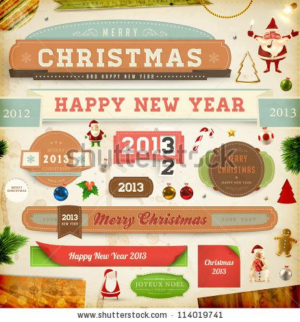 christmas ribbons old dirty paper textures and vintage new year labels elements for xmas