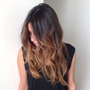 Ombre Dip Dye Clip In Hair Extensions Straight Curly Wavy Black