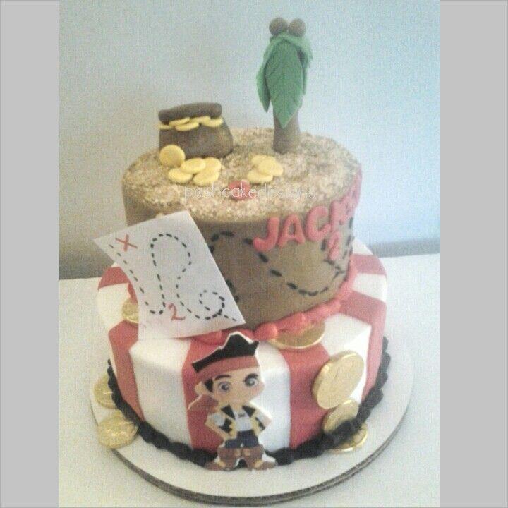 Jake and the Neverland birthday party cake. Pirate cake, treasure cake, treasure hunt party, gold coins, pirate party, poshcakedesigns.com Birmingham-AL