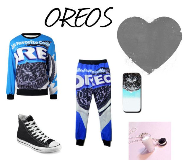 """I love Oreo's This much"" by shadowwolf8 ❤ liked on Polyvore featuring Converse and cutekawaii"