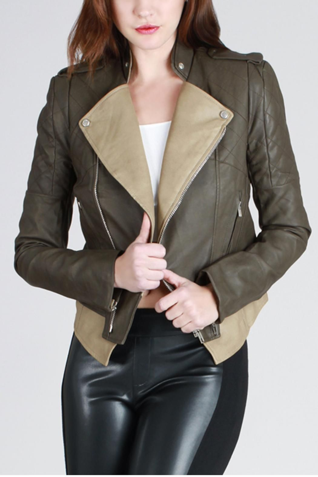 Edgy olive and tan moto jacket with gunmetal zipper and hardware. Pair it with leather pants and sexy heels for an edgy chic look. A closet staple and must have! Vegan leather.   Edgy Leather Jacket by SNAZZY CHIC BOUTIQUE. Clothing - Jackets, Coats & Blazers - Jackets - Leather Louisiana