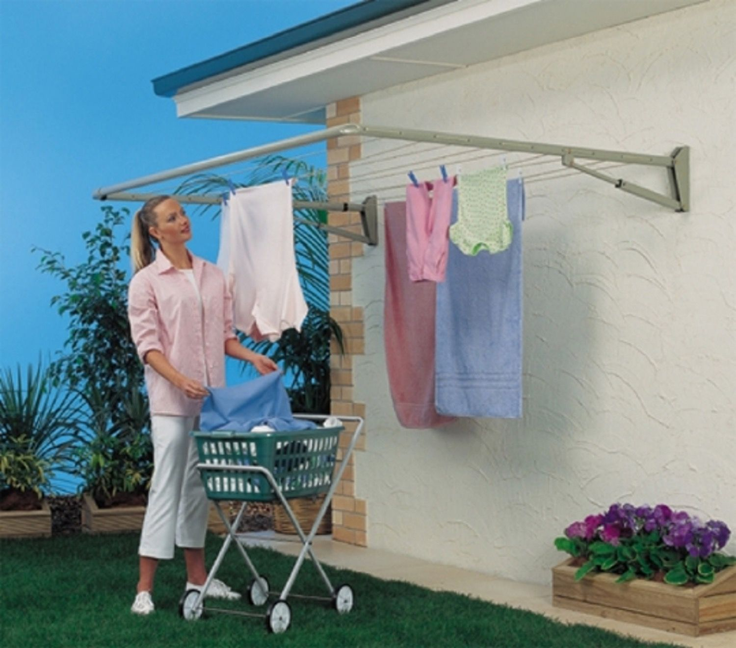 Wall Mount Folding Drying Rack Outdoor Clothes Lines