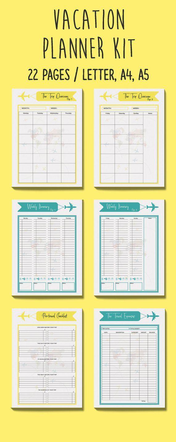 travel planner printable  road trip planner  travel