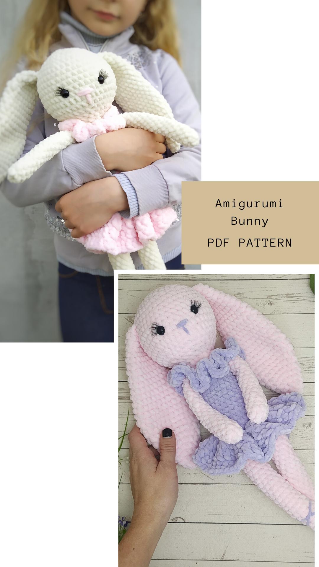 Stuffed Bunny PATTERN amigurumi crochet - amigurumi toy - crochet animal pattern - Plush toy pattern