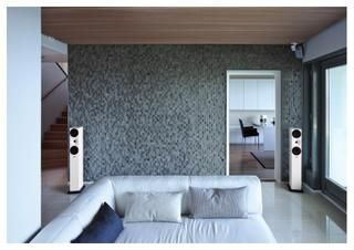 Amphion Helium520 with my favorite wall, which is glued of stained massive woodpieces.