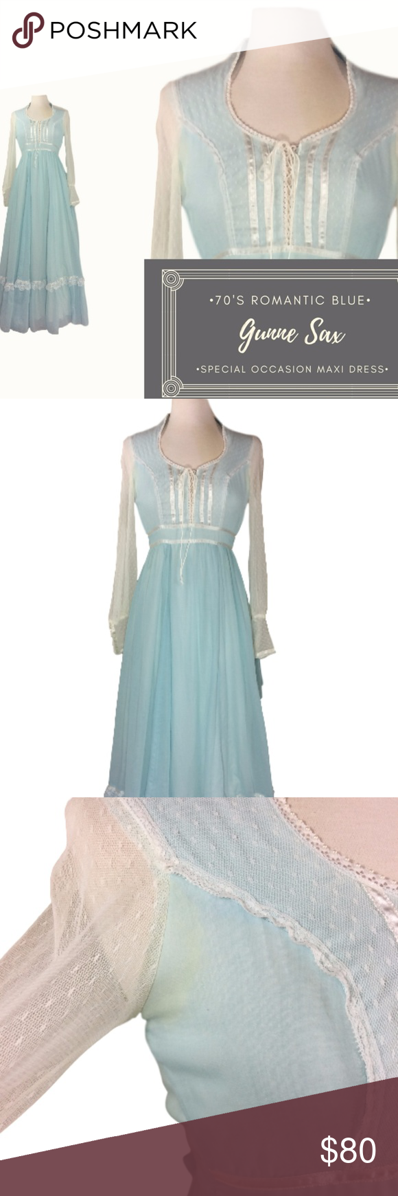 70\'s Vintage Pale Blue Gunne Sax Maxi Prom Dress