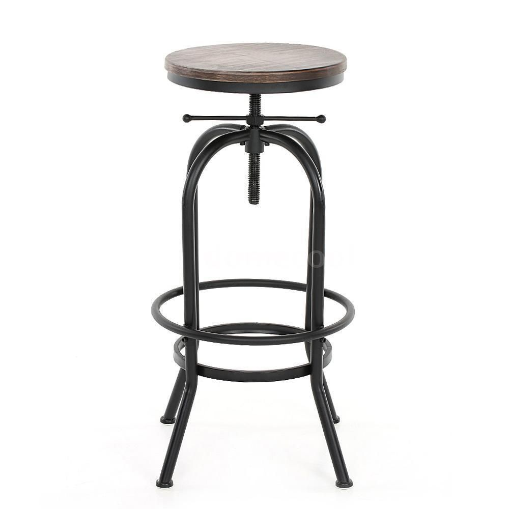 Vintage Bar Stool Metal Design Wood Top Height Adjustable Swivel Industrial E7y5 Ikayaa Vintage