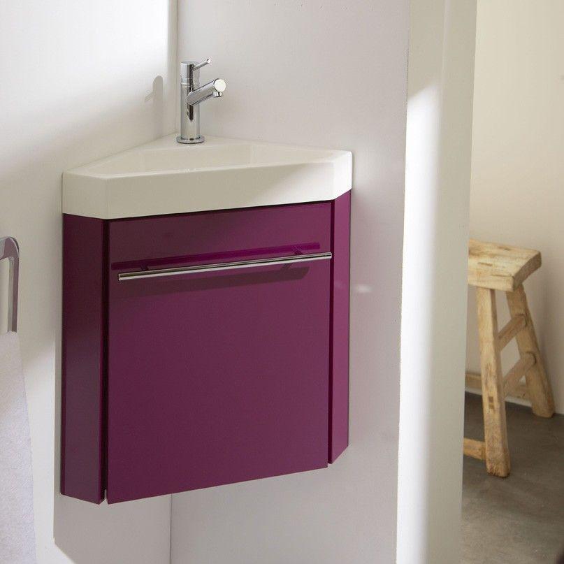 Nouveauté ! Meuble lave-mains d'angle aubergine. #meuble