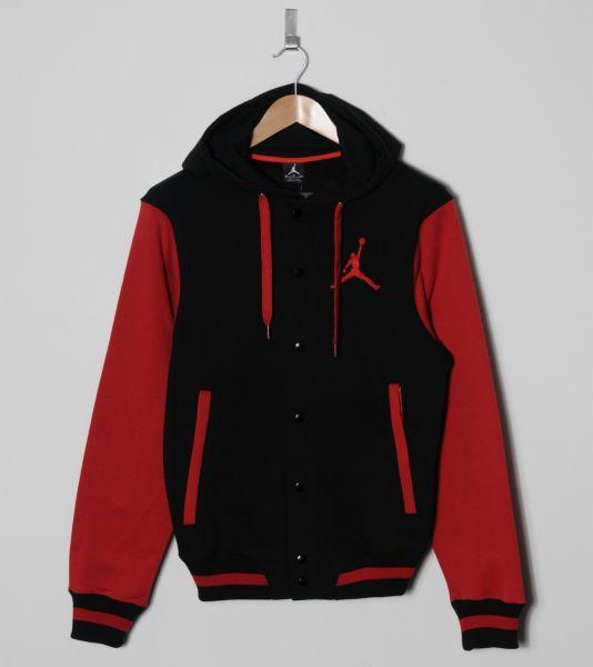 jordan varsity jacket red and black