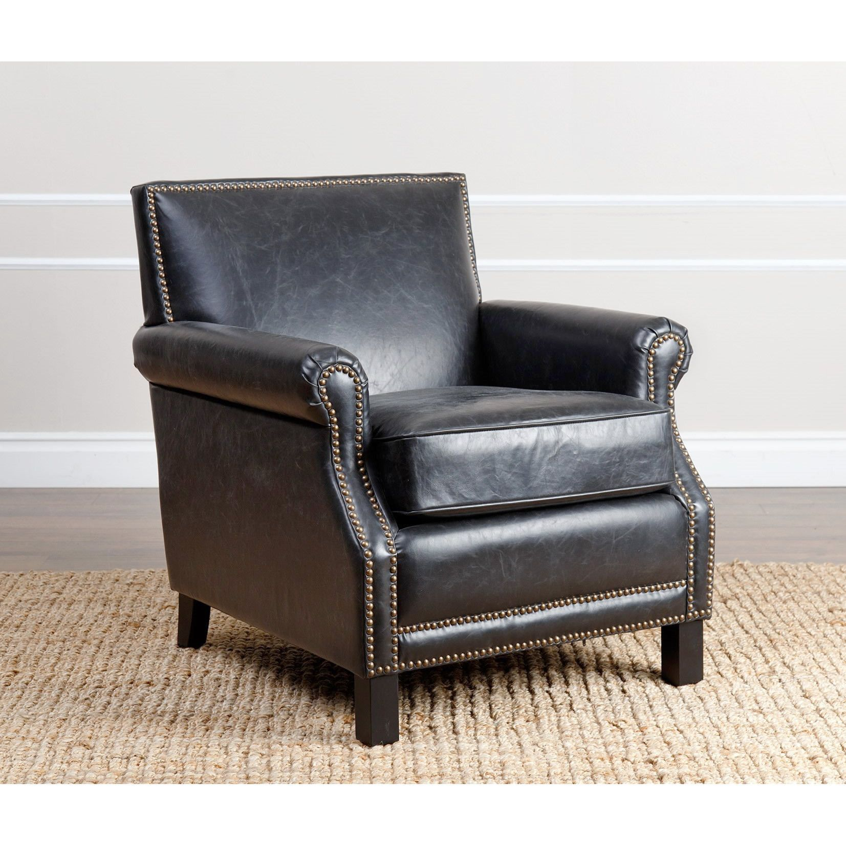 Abbyson Chloe Antique Black Leather Club Chair by Abbyson