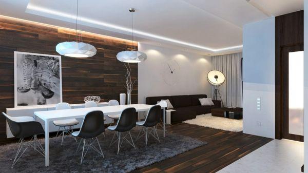 holzpaneele esszimmer wandgestaltung grauer teppich Wohnung