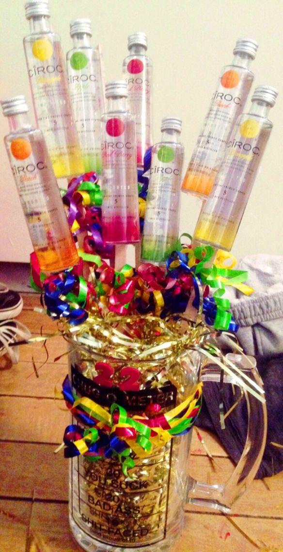 Ciroc mini bottle birthday bouquet Alcohol Bouquet, Liquor Bouquet, Liquor Gift Baskets, Diy
