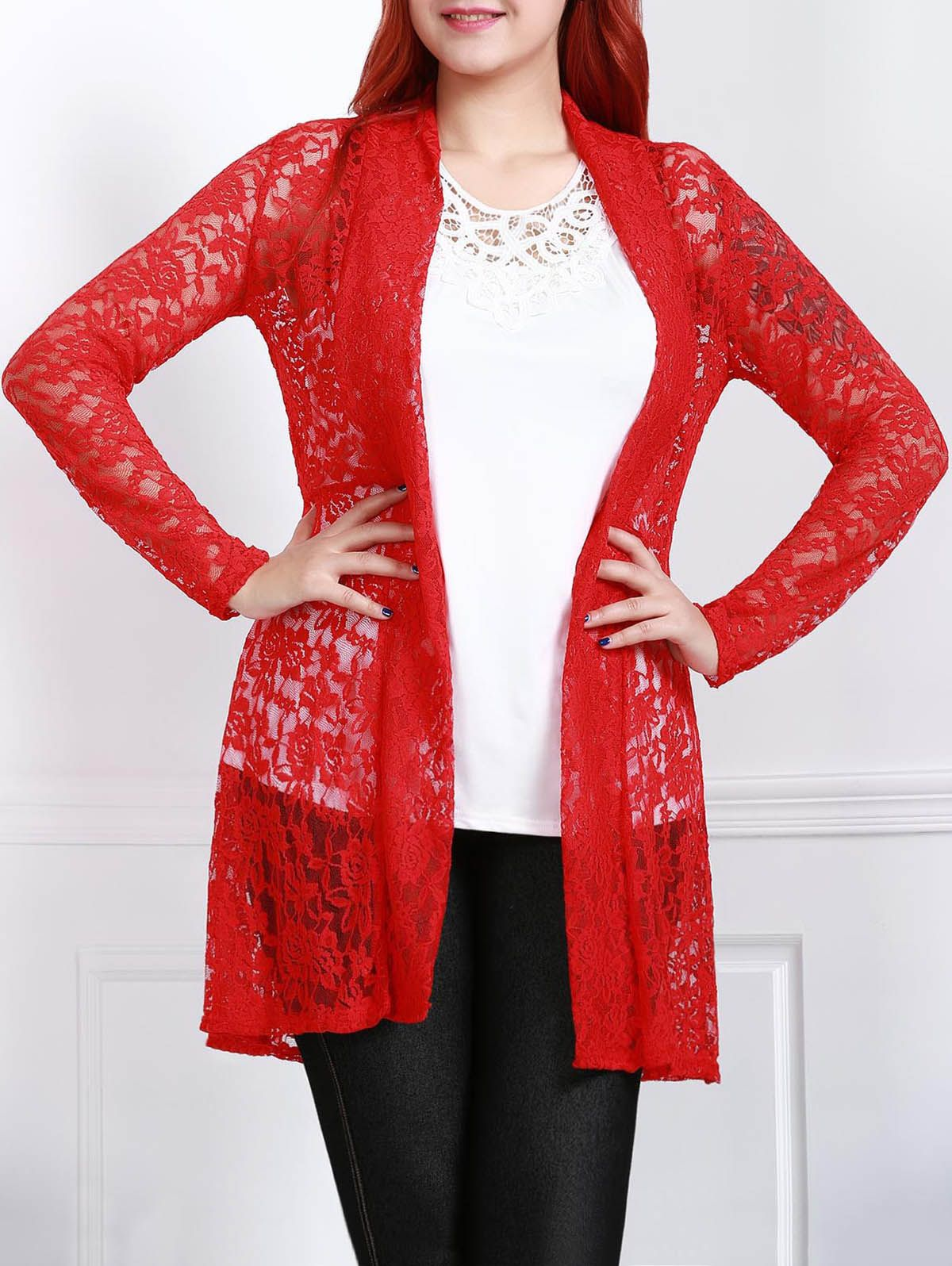 Plus Size Lace Embroidered Long Sleeve Cardigan For Women ...
