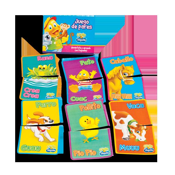 Juego de pares 22 tarjetas Este juego favorece el desarrollo del lenguaje comprensivo y expresivo de tu pequeñín, al permitirle escuchar y explorar los sonidos. Puntos: 380