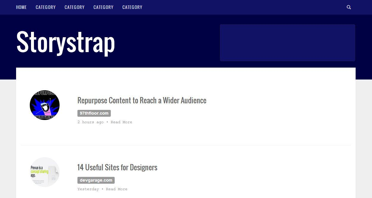 A single column design that works well for articles, blog posts and ...