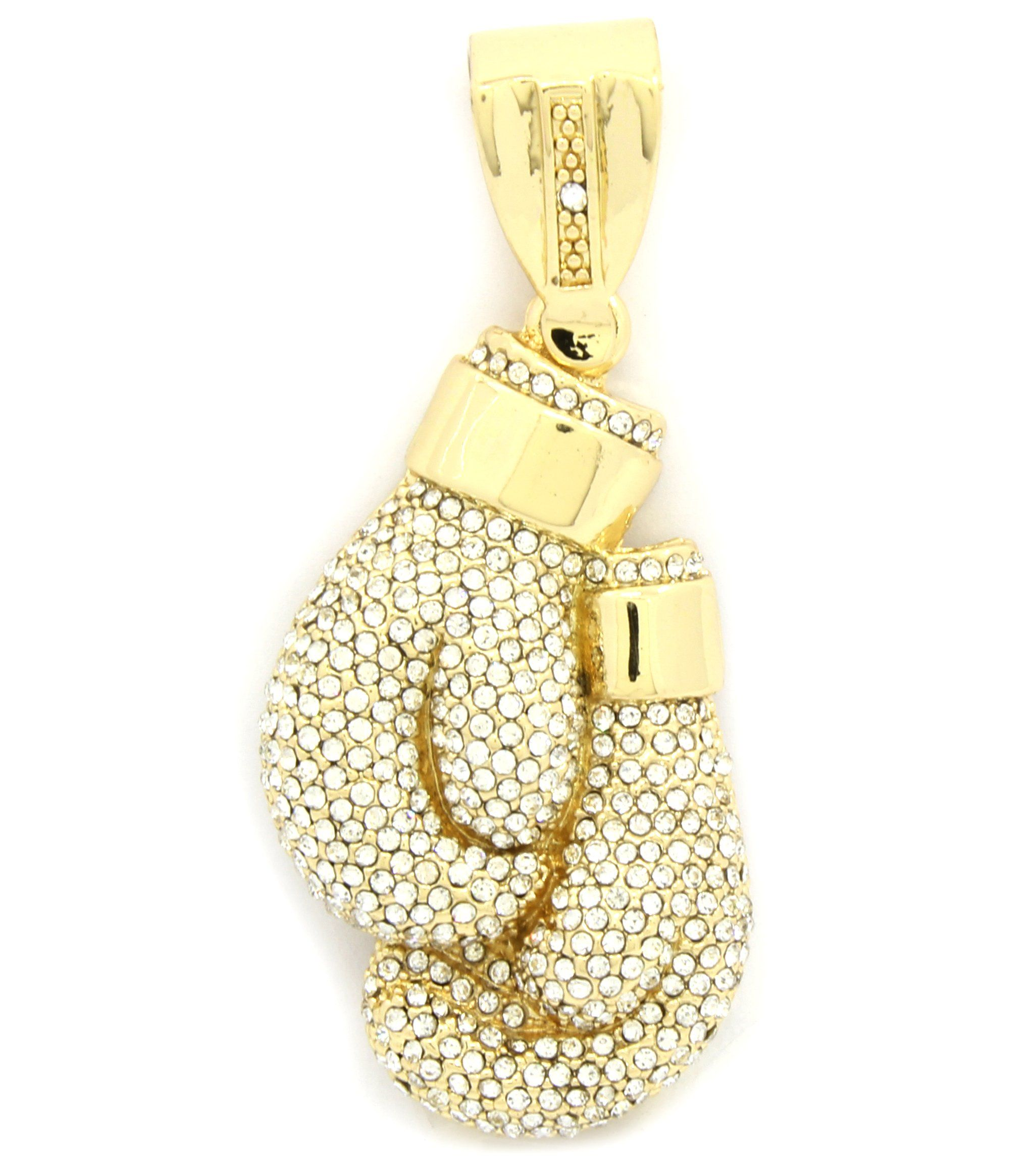 Mens gold plated iced out large boxing gloves hip hop pendant a