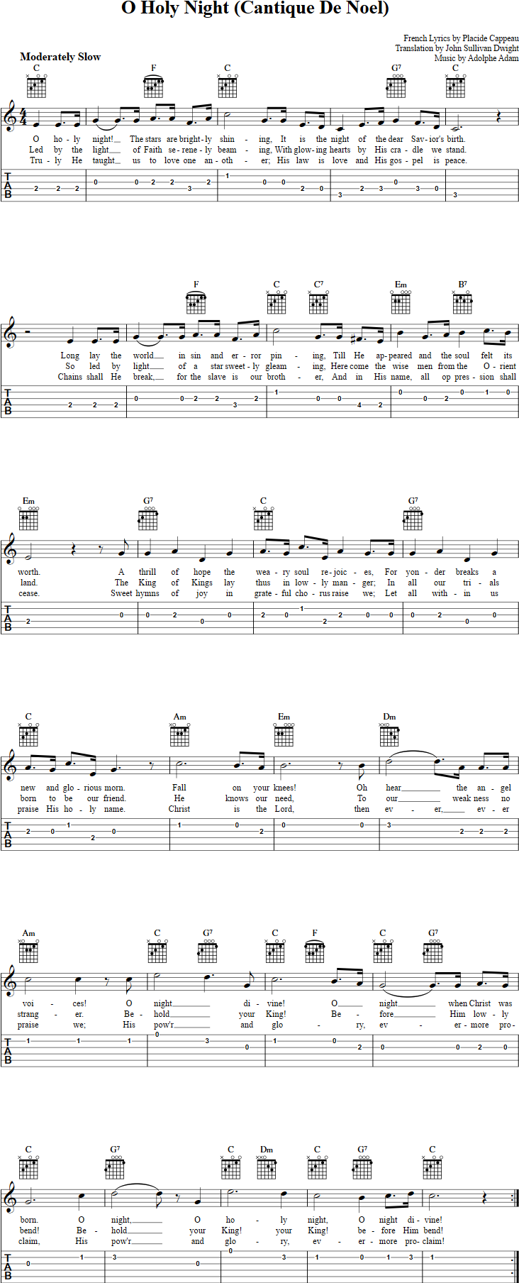 O holy night guitar tab christmas eve pinterest holy night o holy night ukulele chords sheet music tab lyrics hexwebz Gallery
