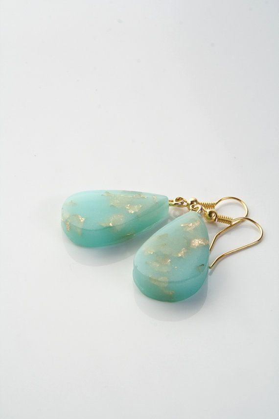 Drop earrings with gold leaf flakes / Spring collection by Brukne