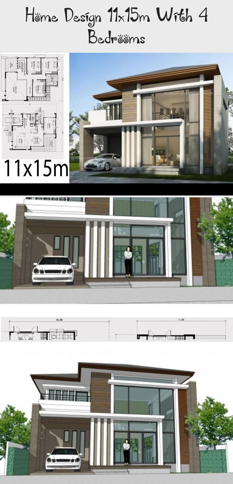 Home Design 11x15m With 4 Bedrooms In 2020 House Design Floor Plan 4 Bedroom Modern Architecture