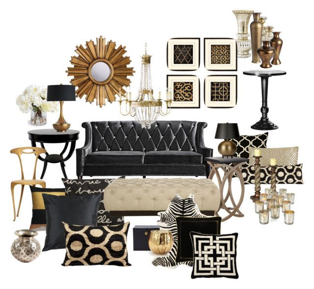 black and gold living room by chloeg01 liked on polyvore featuring interior interiors