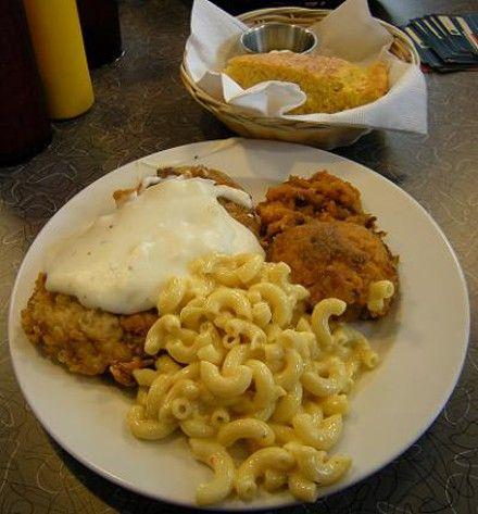 Chicken fried steak sweet potato casserole macaroni and cheese and cornbread at the Home Plate Diner in Bryant Arkansas. & Chicken fried steak sweet potato casserole macaroni and cheese and ...