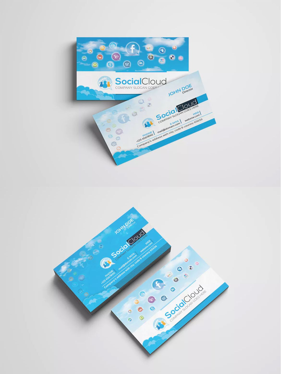 Social Media Business Card Design Template AI EPS PSD Business - Social media business card template free