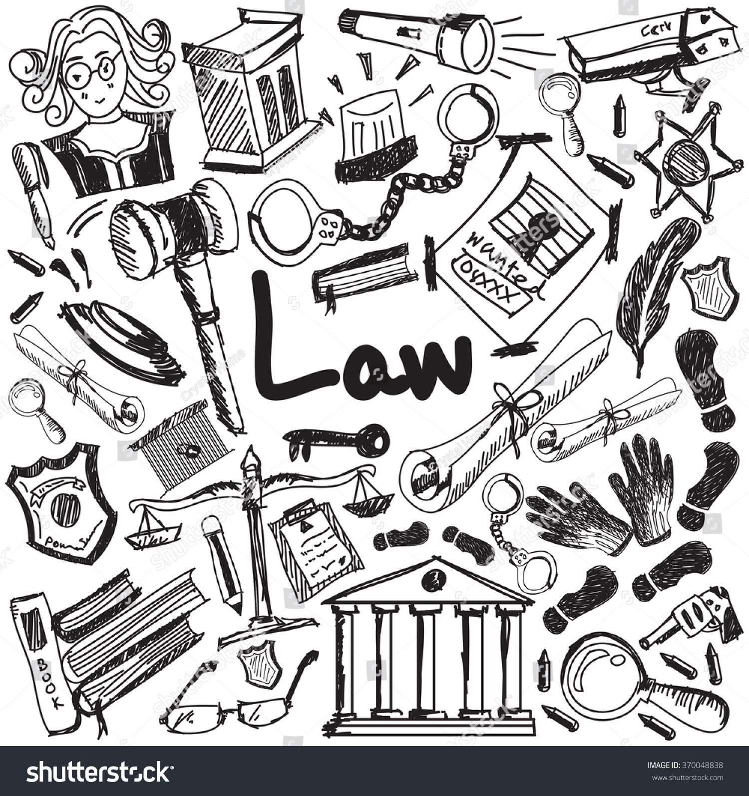 Law And Judgement Education Handwriting Doodle Icon Of Justice Sign