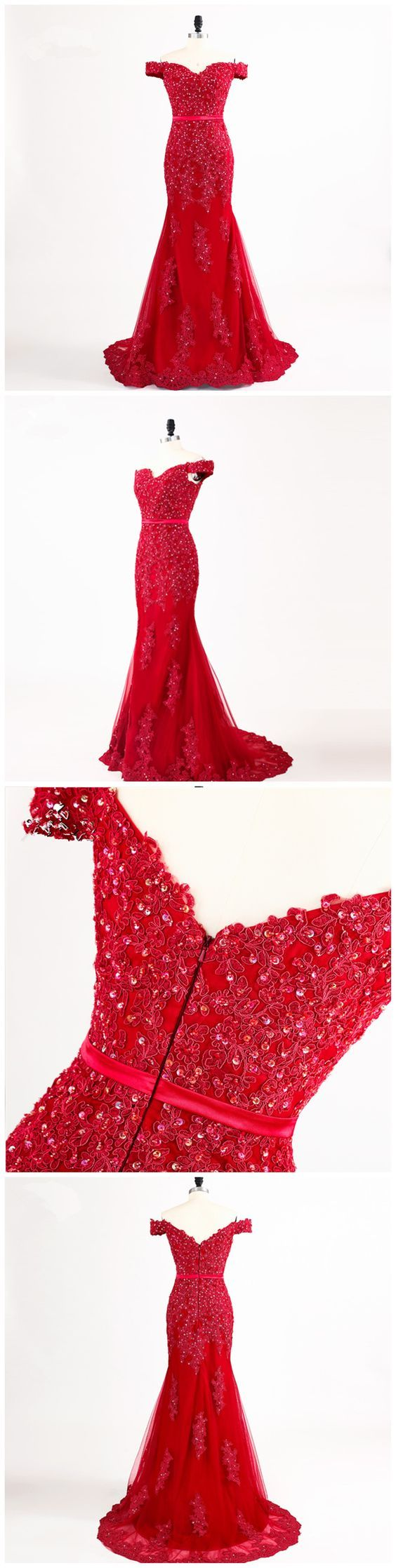 Red sexy mermaid off shoulder lace beaded evening mis