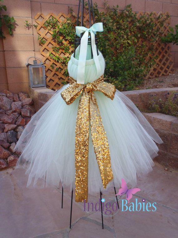 Tutu dress flower girl dress mint green tulle mint for Mint and gold wedding dress