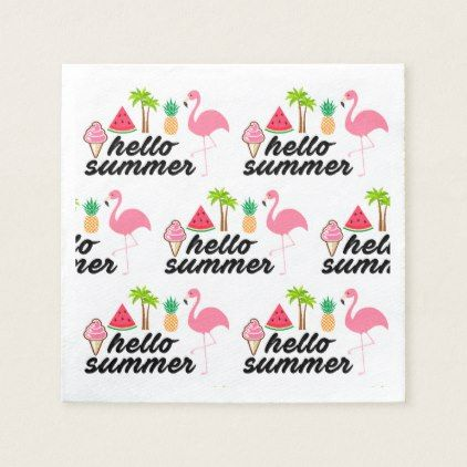 Hello Summer Napkin   Trendy Gifts Cool Gift Ideas Customize