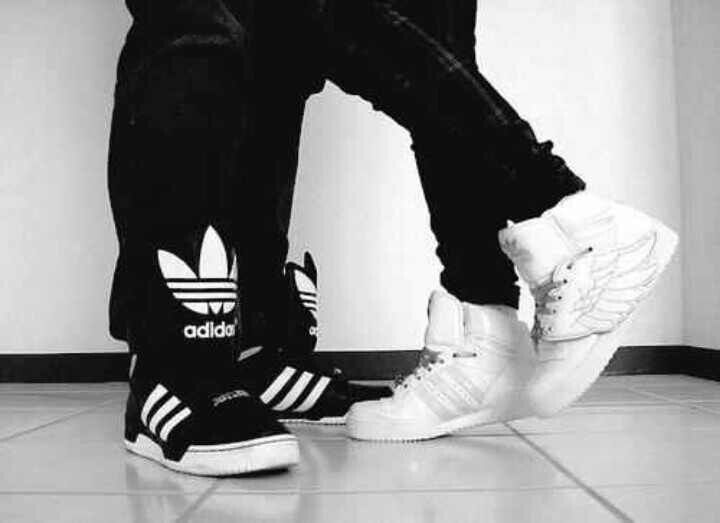black and white adidas shoes.