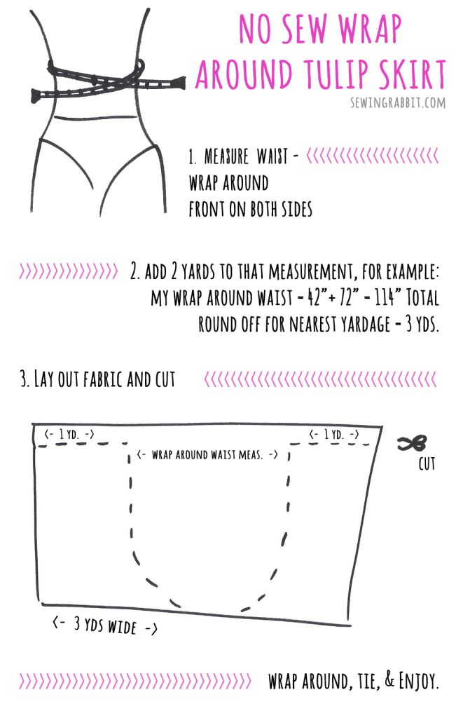No Sew Wrap Around Tulip Skirt | Wraps, Diy clothes and Craft