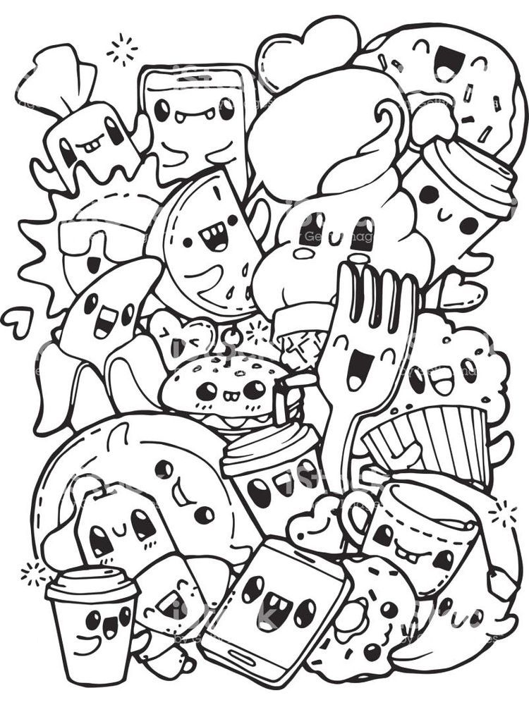 Food Coloring Pages With Faces Food Is The Main Need Of All Living Things There Are No Living Things Esp In 2020 Cute Coloring Pages Cute Doodle Art Doodle Coloring
