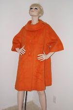 60s Lilli Ann Coat Mod Bright Orange Wool Mohair Swing Coat