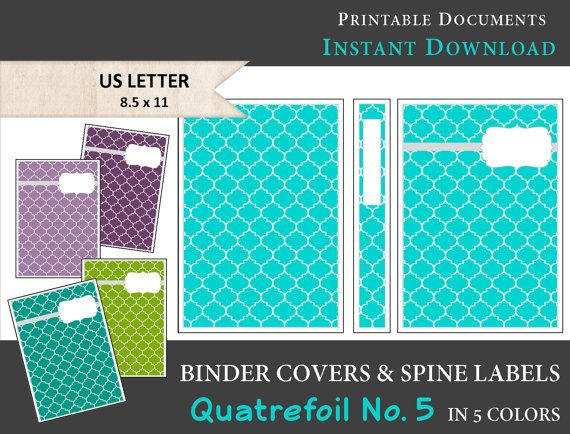 Printable Binder Covers  Spine Label Inserts in 5 Colors Plum - printable binder spine labels