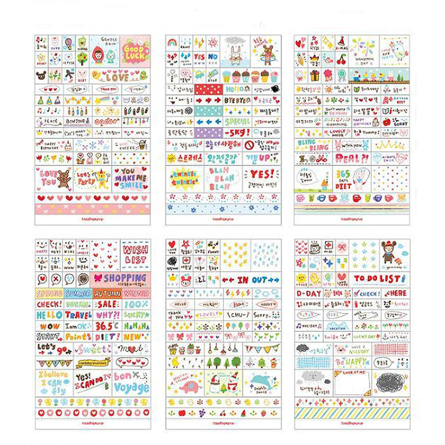 1 0aud 6sheets pack drawing planner paper diary decor stickers pvc
