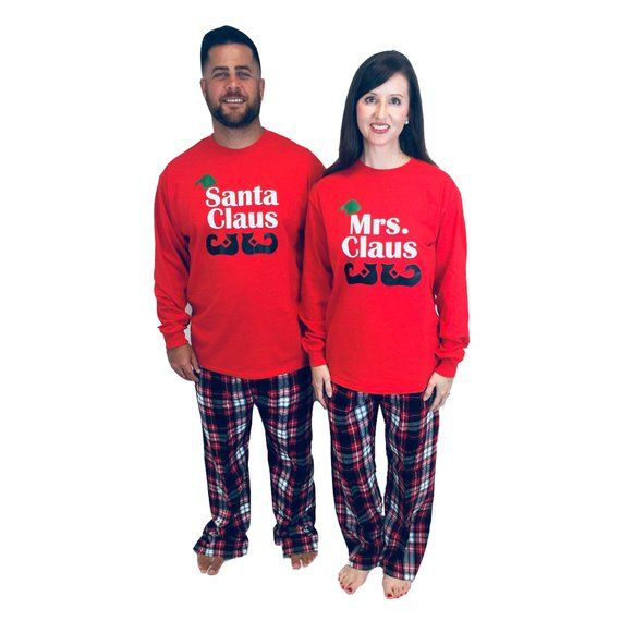 c4c2c5e553 Family Christmas Pajamas - Santa Claus   Mrs. Claus Personalized Holiday  Family PJs - Matching Famil