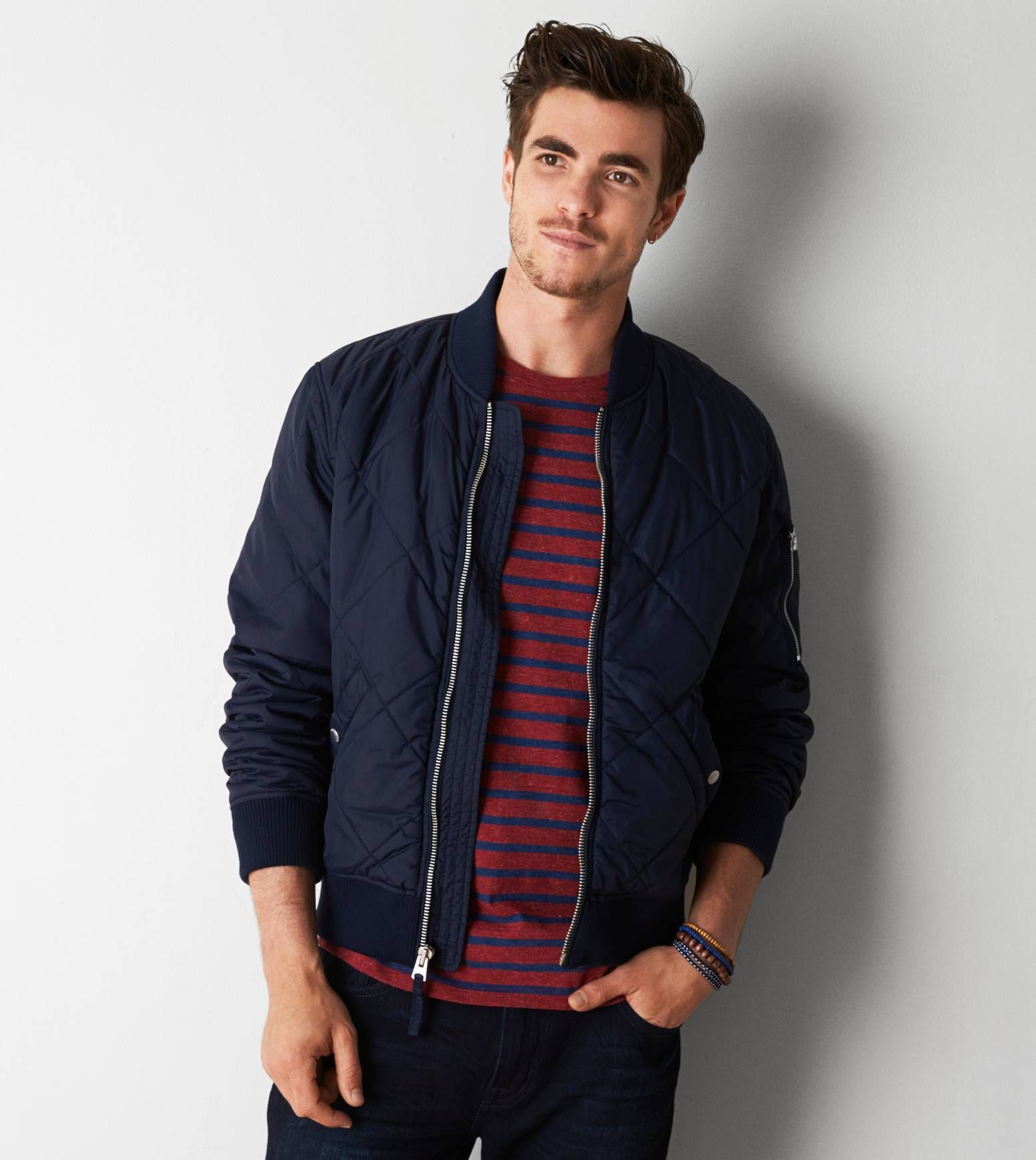 Navy AEO Quilted Bomber Jacket | Mens Fashion | Pinterest | Men's ... : navy quilted bomber jacket - Adamdwight.com