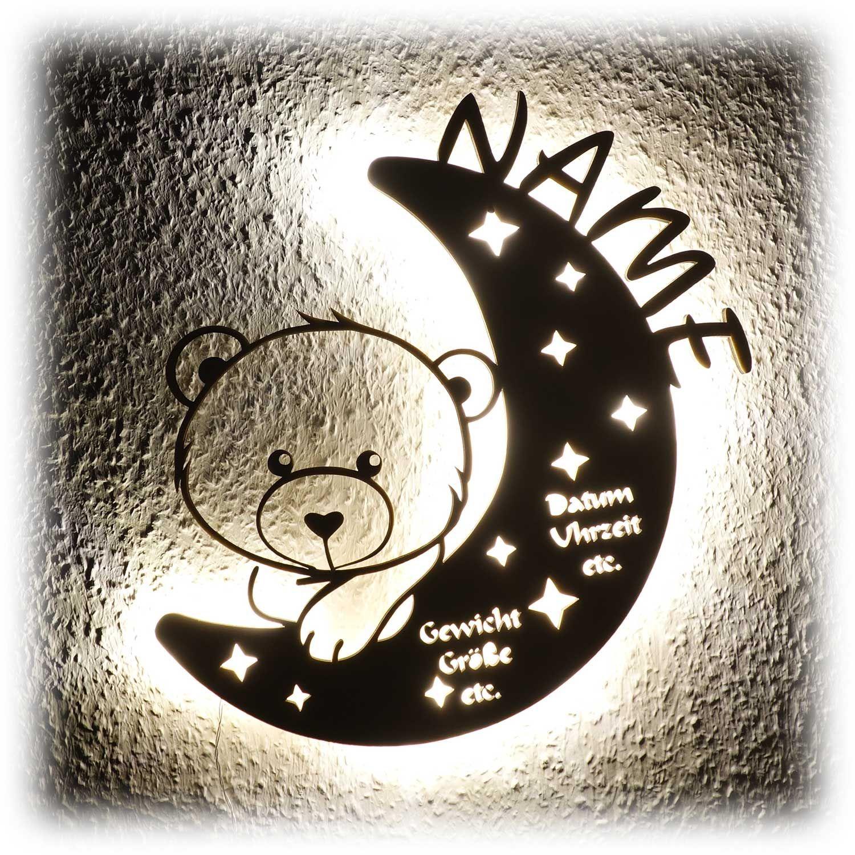 Nachtlicht Teddy Bar Auf Mond Mit Namen Personalisiert Geschenke Mit Namen Taufgeschenke Zur Taufe