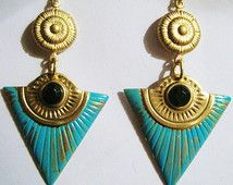 Egyptian Earrings Art Deco Revival Vintage 1920s 1930s Style Long Turquoise Statement Jewellery Gold Filled Hooks