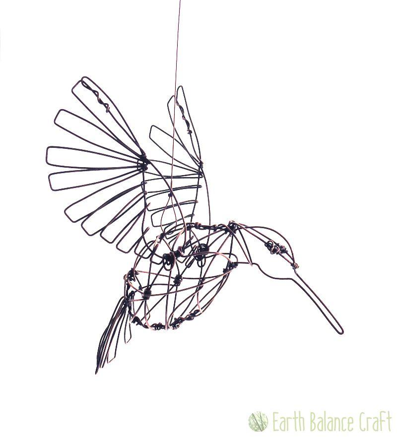 Hummingbird Sculpture - A weathered copper wire bird sculpture ...