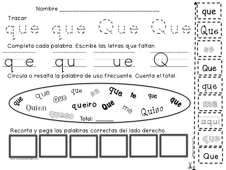 Letra Q Q Silabas Que Qui Spanish Resources Silabas Actividades